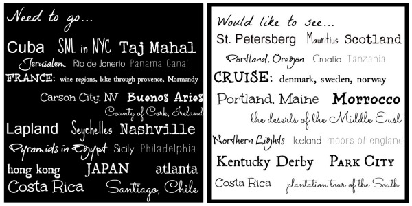 Need to Travel List